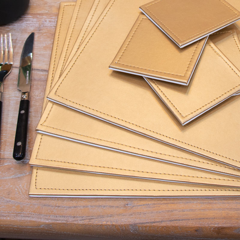 Gold Placemats and Coasters Set