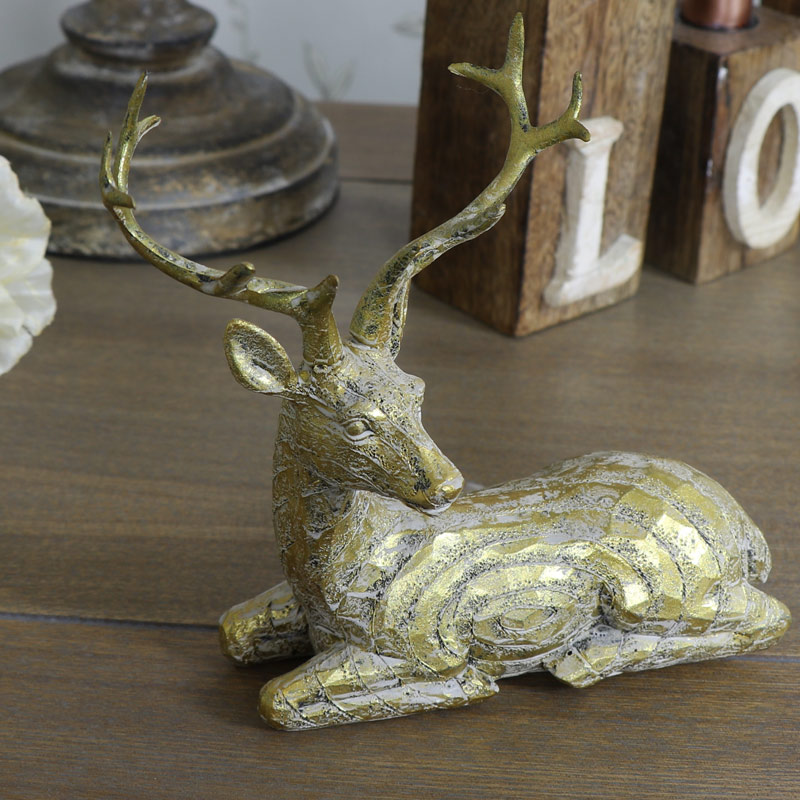 Gold Resting Stag Ornament