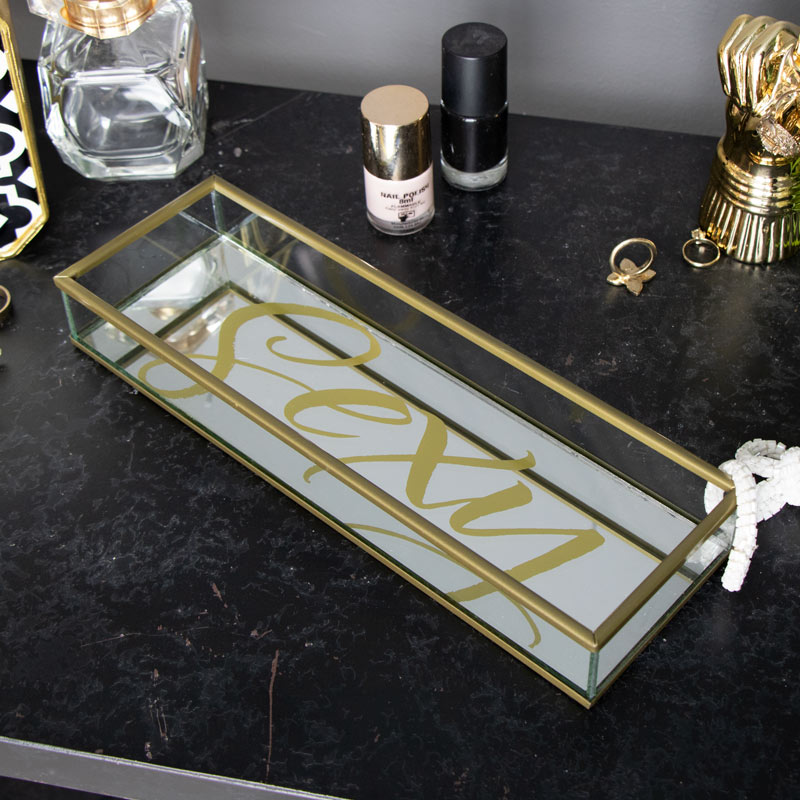 Gold 'Sexy' Mirrored Trinket Tray