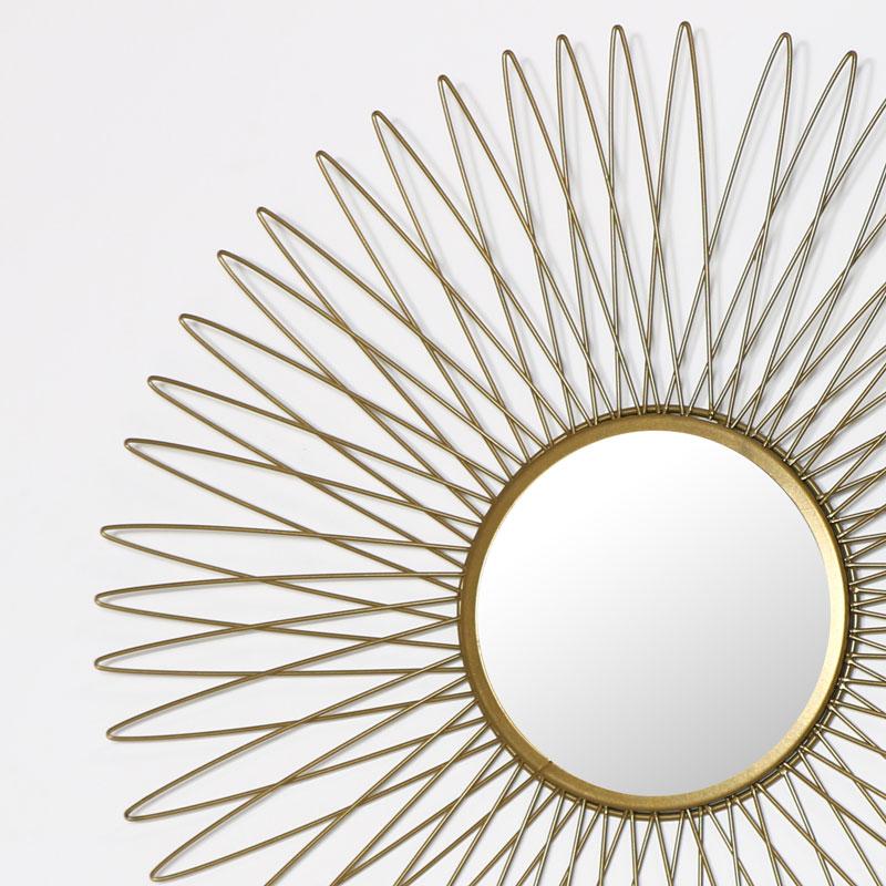 Antique Gold Sunburst Style Wall Mirror