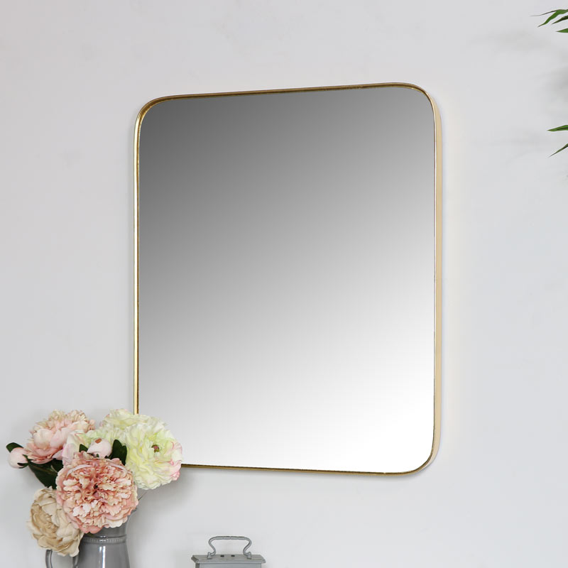 Gold Thin Framed Rectangle Wall Mirror