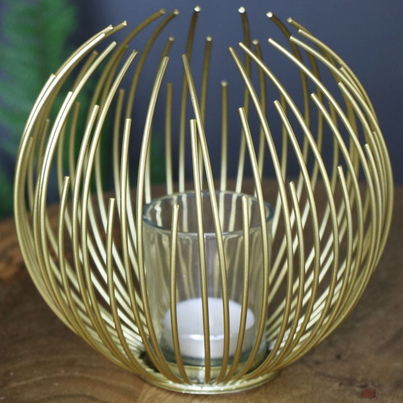 Gold Wire Candle Holder