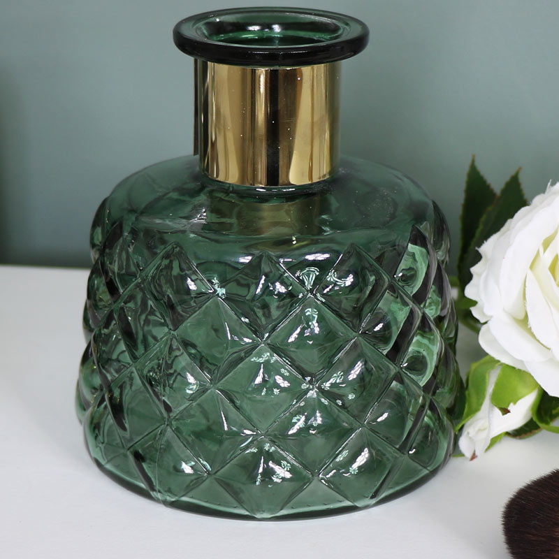 Green Diamond Cut Glass Vase