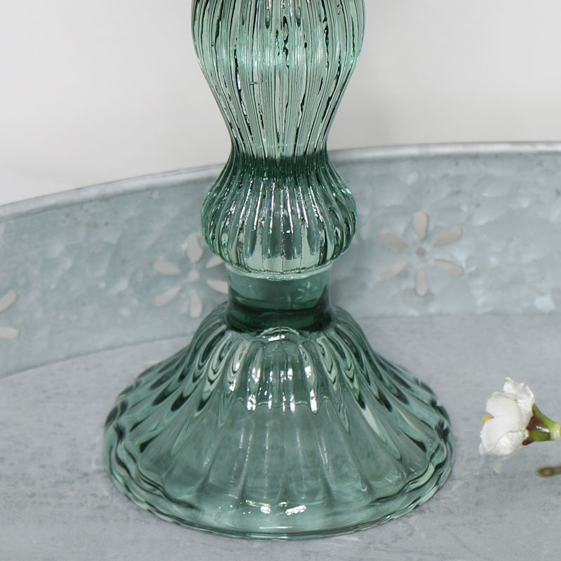 Green Glass Candlestick