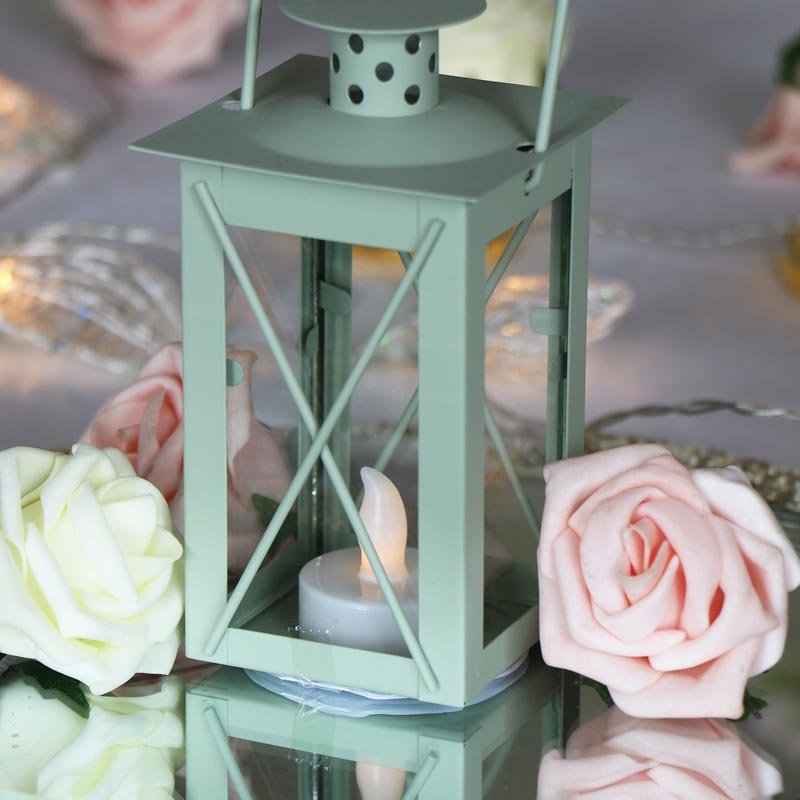 Green LED Candle Lantern
