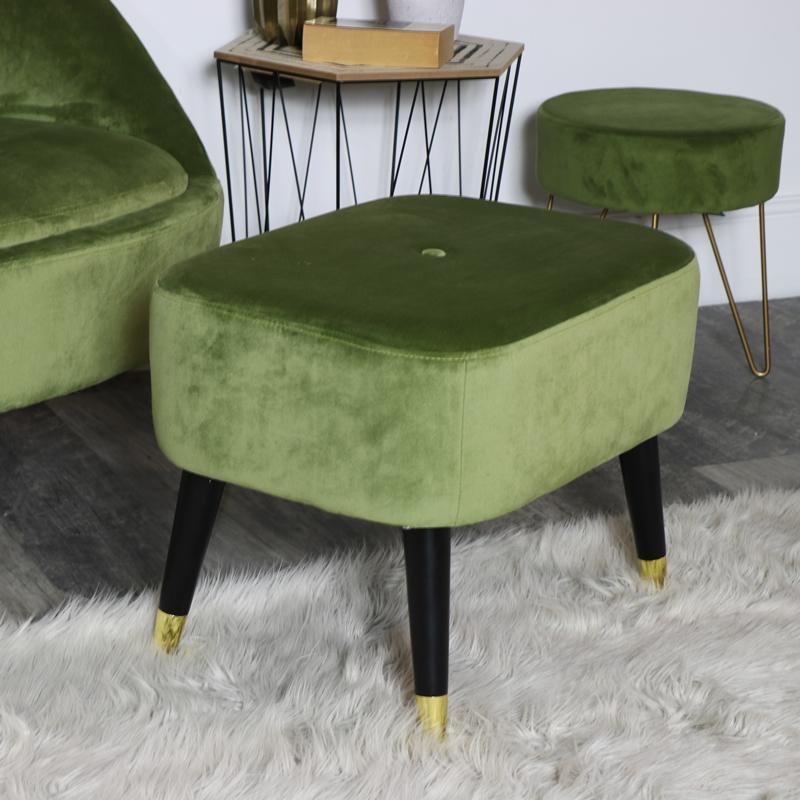 Green Velvet Low Stool