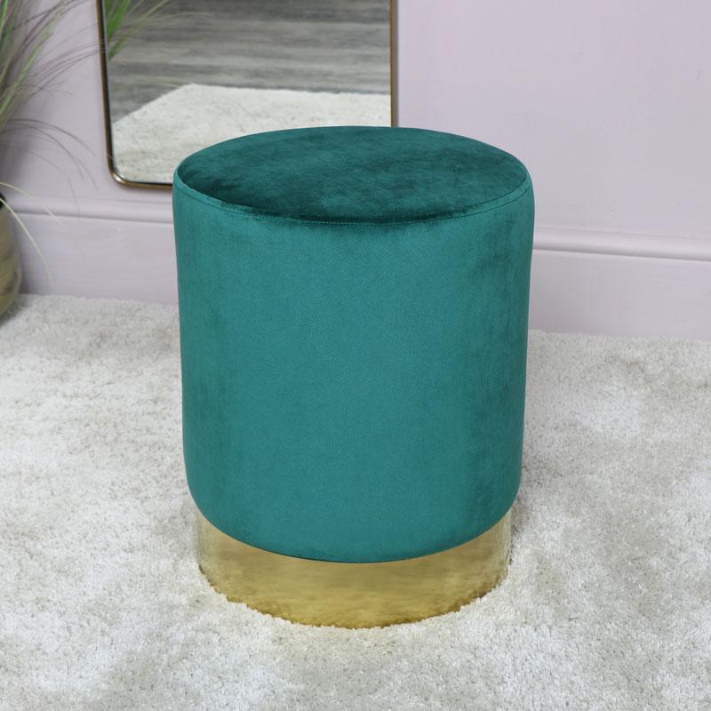 Green Velvet Stool with Gold Base