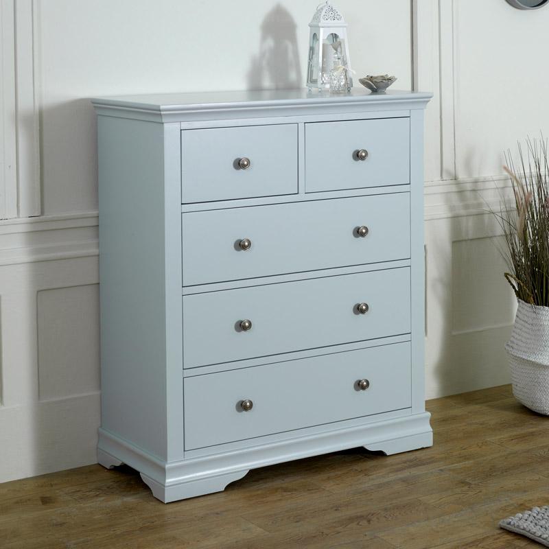 Grey 5 Drawer Chest of Drawers - Newbury Grey Range