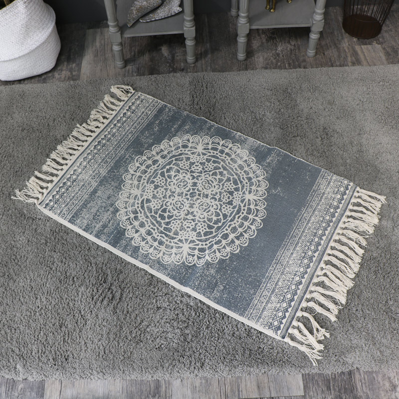 Grey and Cream Mandala Patterned Tassel Floor Rug