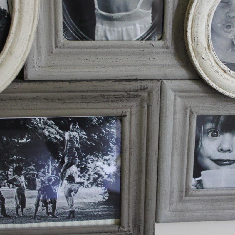 Grey and Cream Wooden Multi Photograph Frame - Melody Maison®