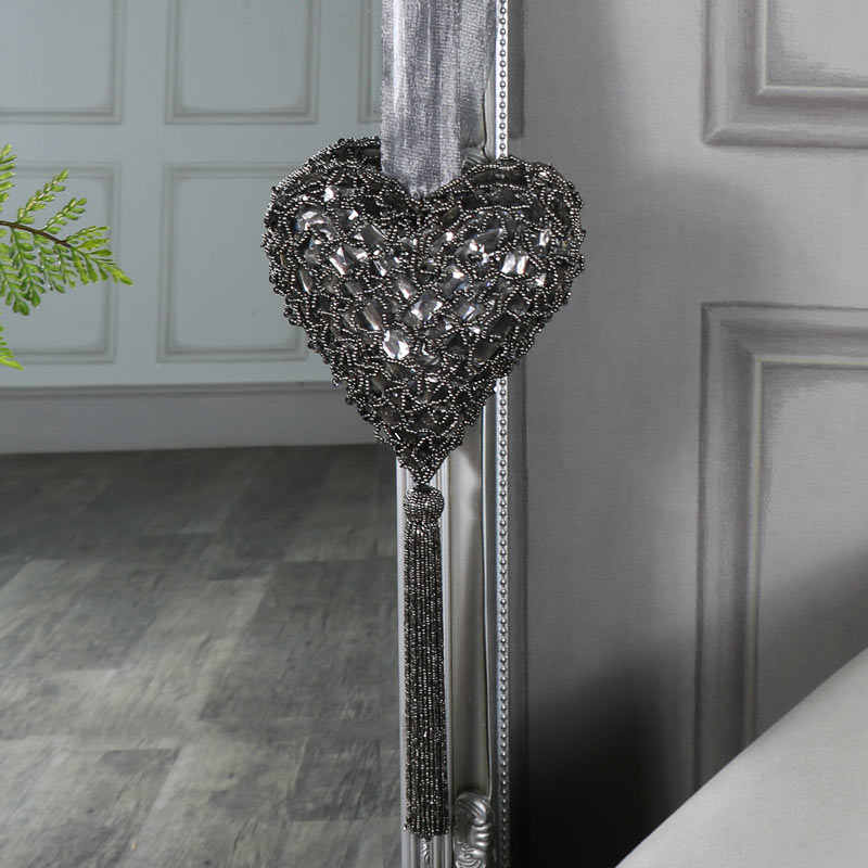 Grey Beaded Hanging Heart Decoration