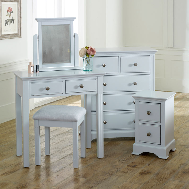 Grey Bedroom Furniture, Chest of Drawers, Dressing Table Set & Bedside Tables - Davenport Grey Range