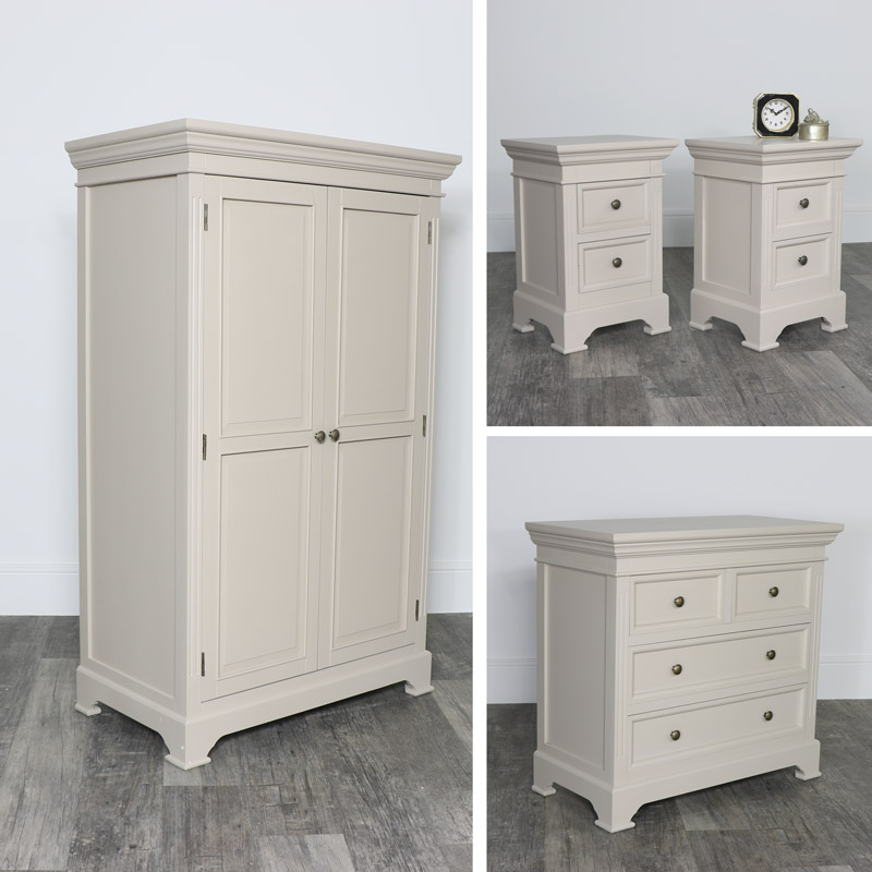 Grey Bedroom Furniture, Closet / Wardrobe, Chest of Drawers, Bedside Tables - Daventry Taupe-Grey Range