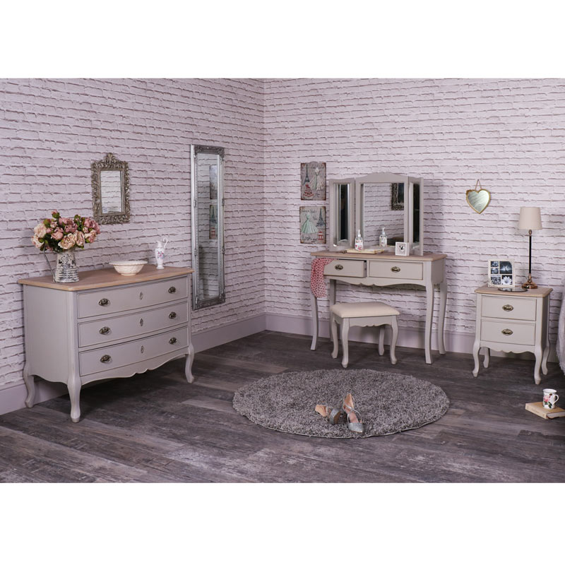 grey bedroom furniture dressing table set large chest of drawers and bedside table - Grey Bedroom Set