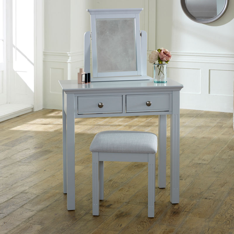 Grey Bedroom Furniture, Large Chest of Drawers, Dressing Table Set & Bedside Table - Davenport Grey Range