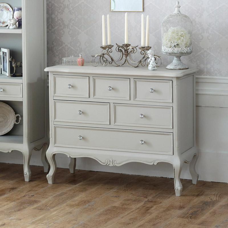 Grey Bedroom Furniture, Large Chest of Drawers, Dressing Table Set & Bedside Tables - Elise Grey Range