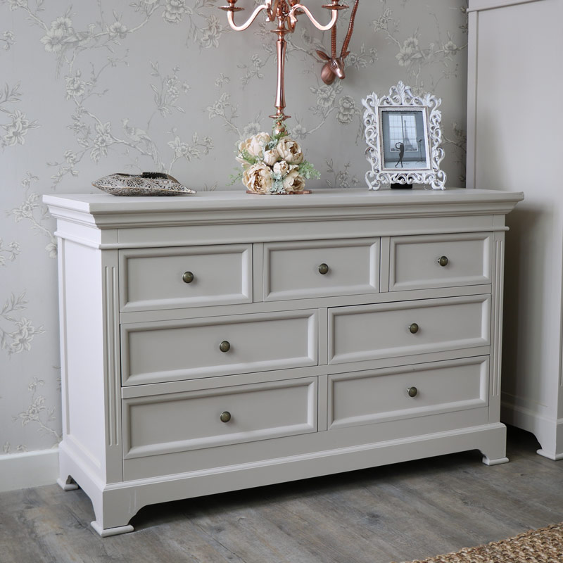 Grey Bedroom Furniture, Wardrobe, Chest of Drawers & Pair of Bedside Tables - Daventry Taupe-Grey Range