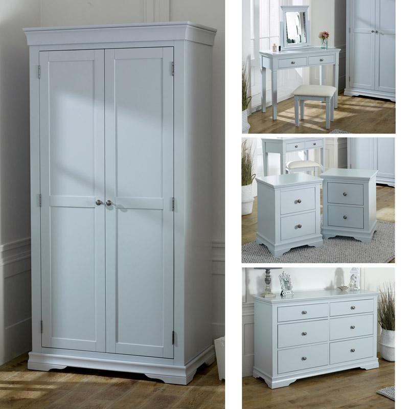 Grey Bedroom Furniture, Wardrobe, Large Chest of Drawers, Dressing Table Set & Bedside Tables - Newbury Grey Range