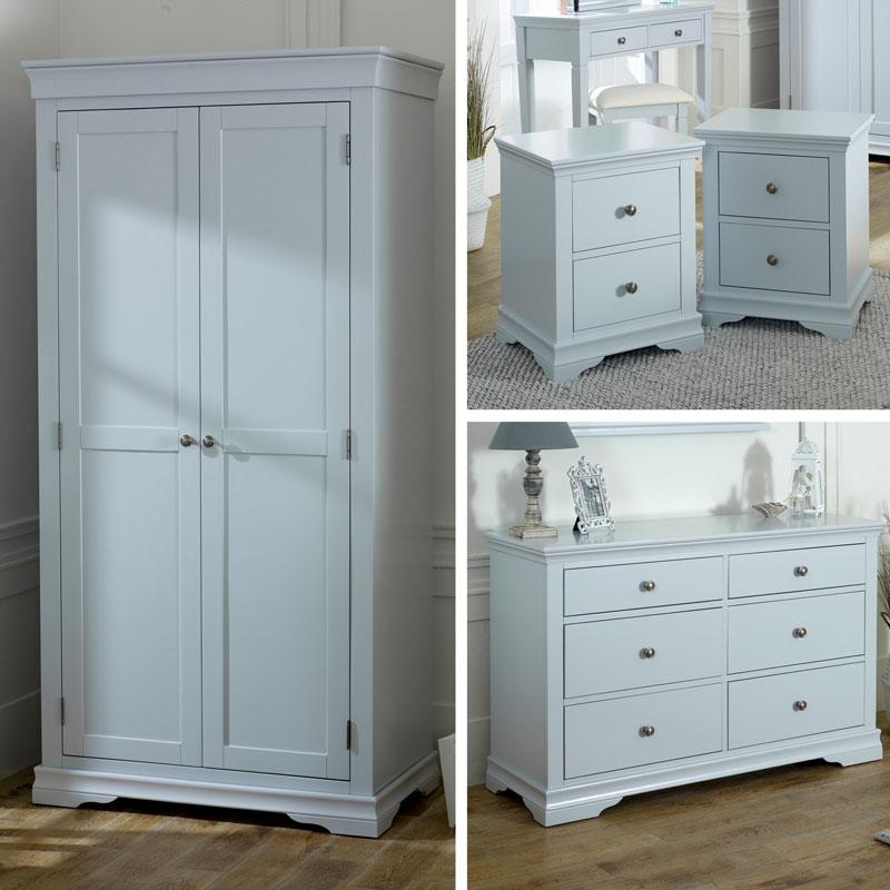 Grey Bedroom Furniture, Wardrobe, Large Chest of Drawers & Pair of Bedside Tables - Newbury Grey Range