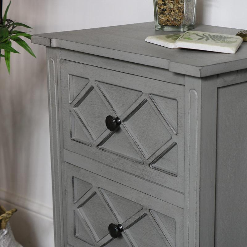 Grey Bedside Cabinet - Venice Range