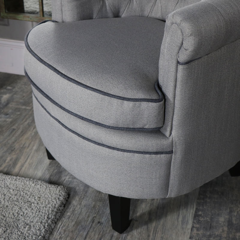 Grey Button Back Occasional Chair