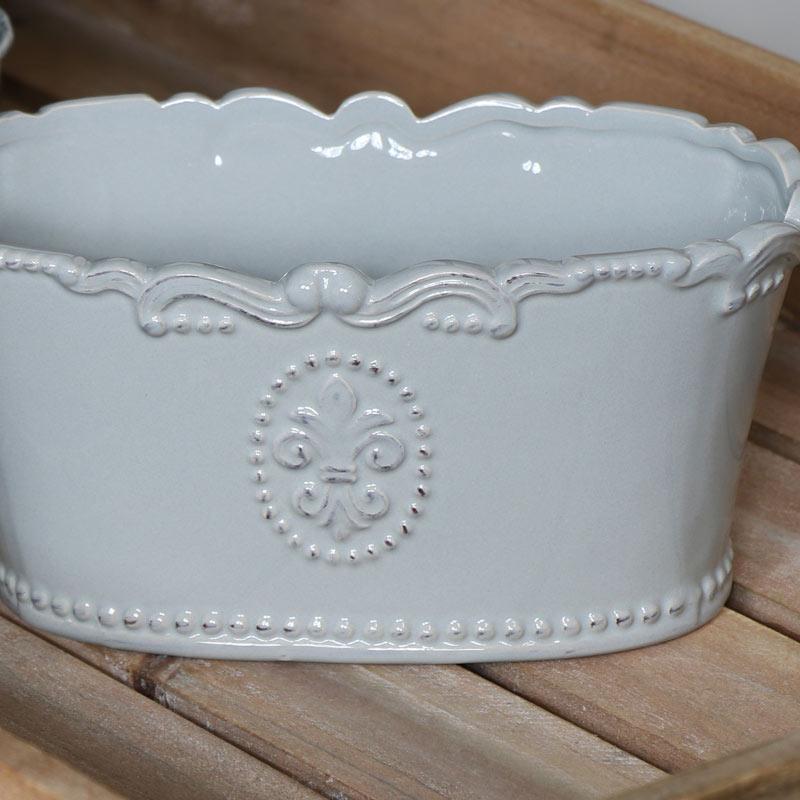 Grey Ceramic Oval Trough Planter