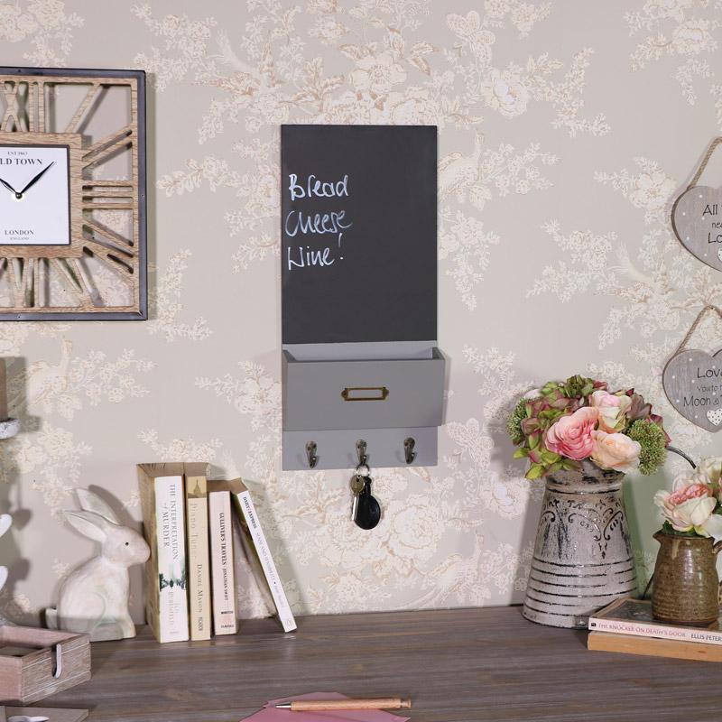 Grey Chalk Board Organiser with Key Hooks