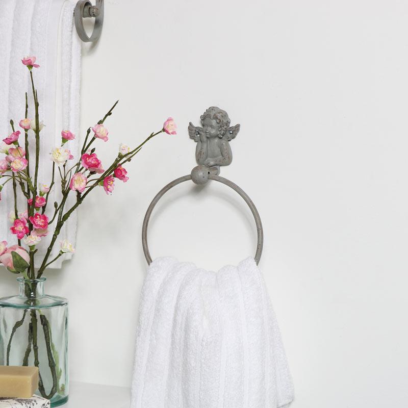 Grey Cherub Towel Ring