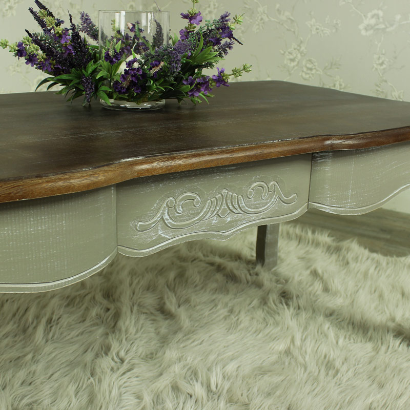 Grey wood coffee table shabby vintage chic french style for Grey wood living room furniture