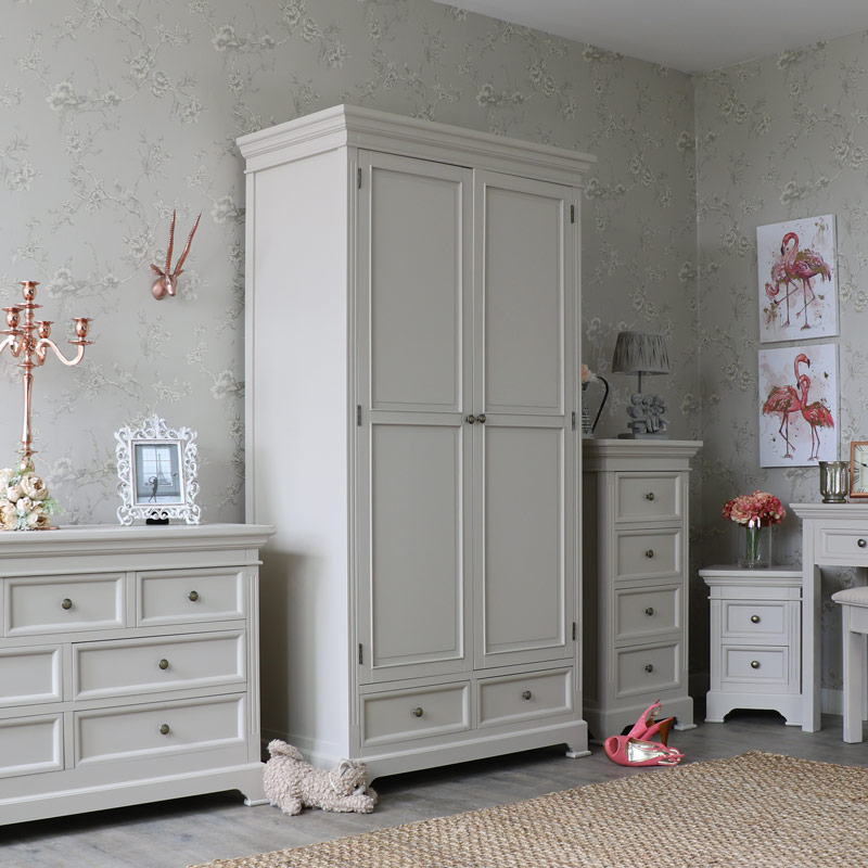 grau holz doppel kleiderschrank shabby vintage chic land schlafzimmer ebay. Black Bedroom Furniture Sets. Home Design Ideas