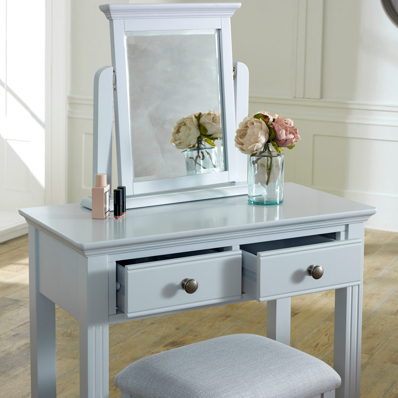 Grey Dressing Table, Mirror & Stool Set - Davenport Grey