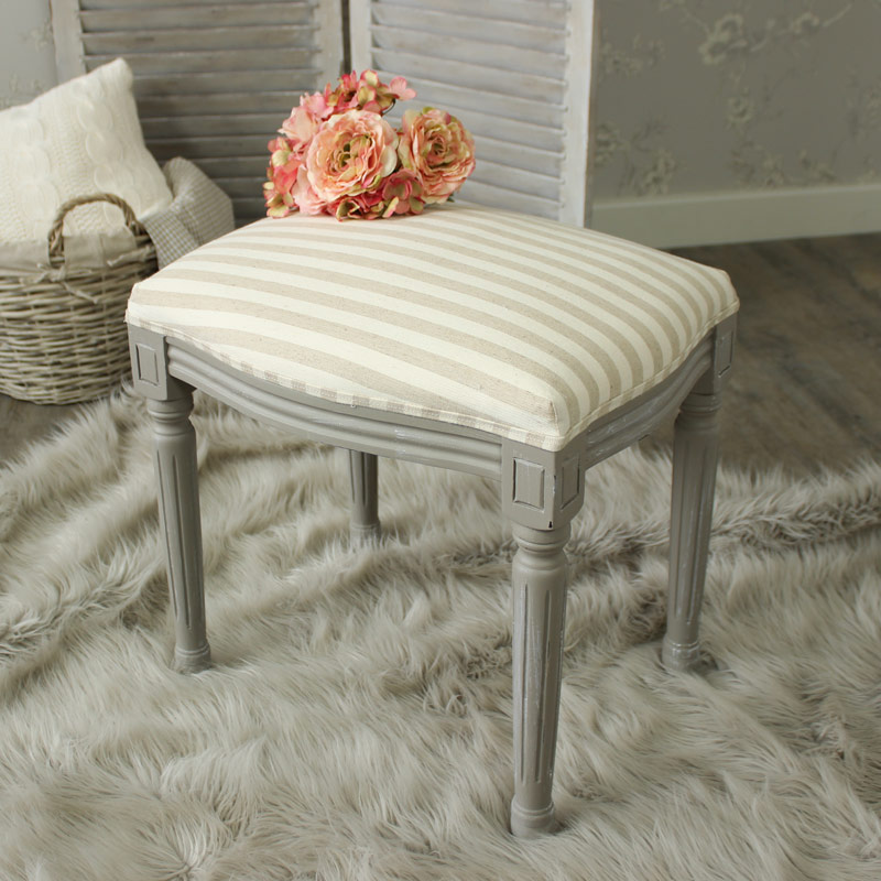 Fabric Dressing Table ~ French grey dressing table stool distressed shabby chic