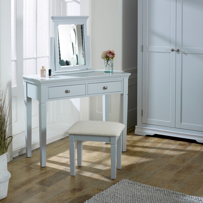 Grey Dressing Table, Vanity Mirror & Stool Set - Newbury Grey Range