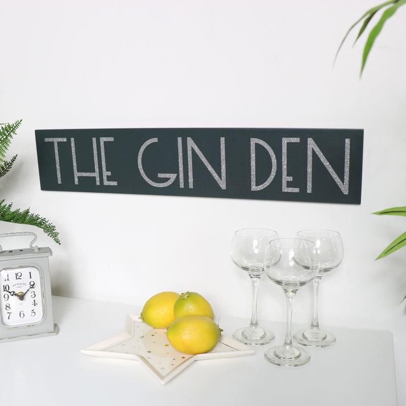 Grey Glitter Gin Sign