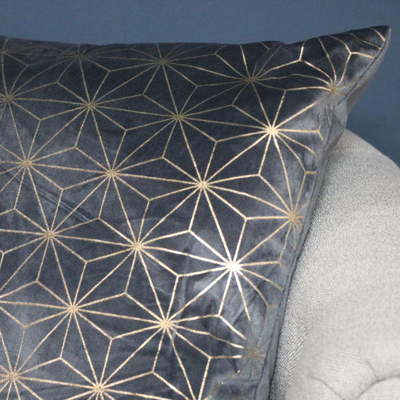 Grey & Gold Velvet Scatter Cushion