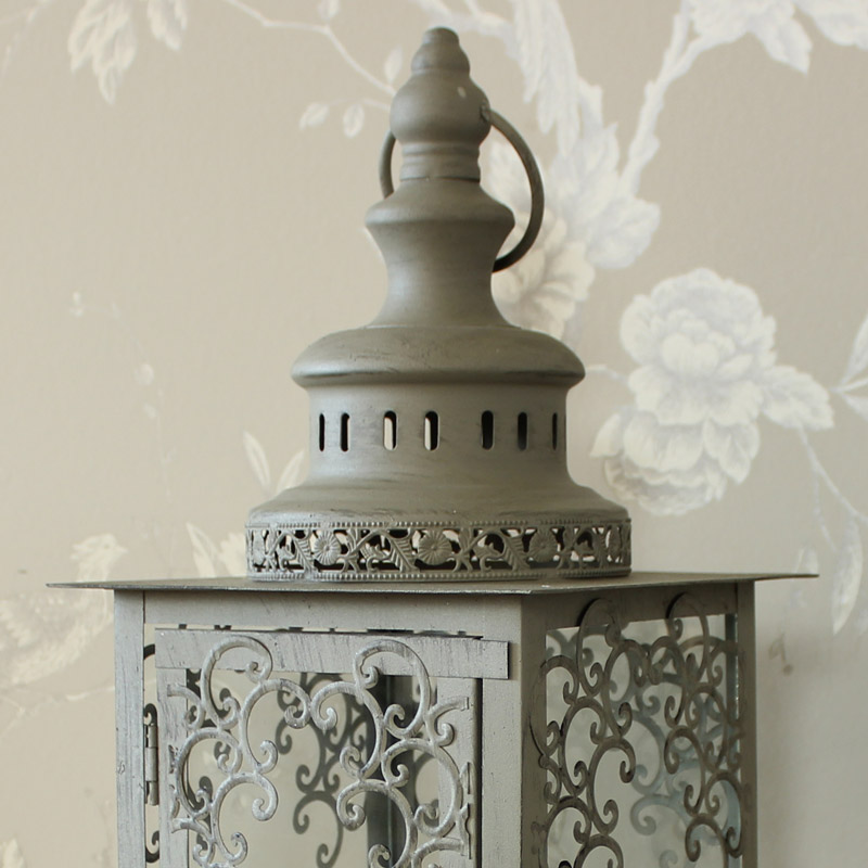 Grey Green Rustic Glass Candle Lantern