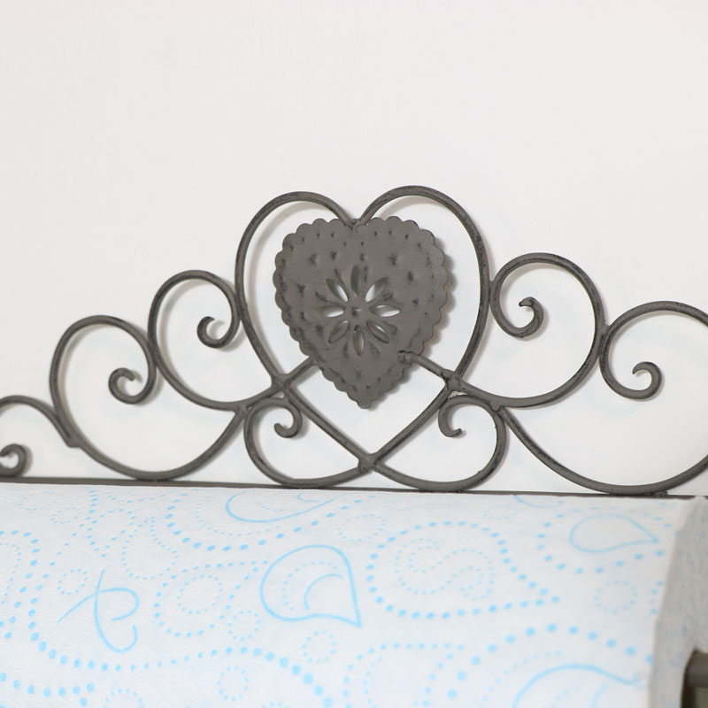 Grey Heart Towel Rail