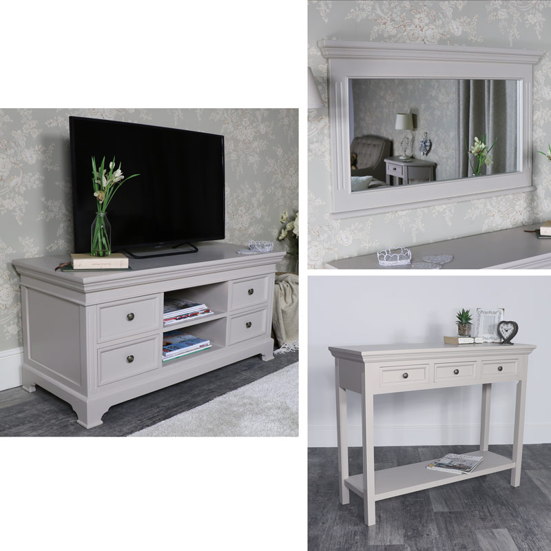 Grey Living Room Furniture Tv Cabinet Console Table Wall Mirror Daventry Taupe Grey Range