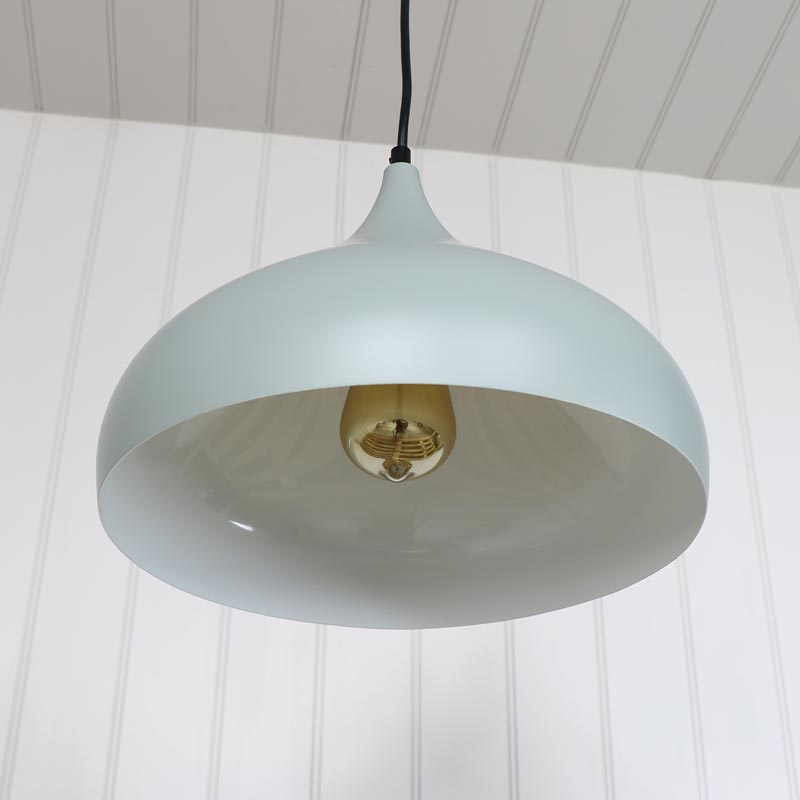 Grey metal dome pendant ceiling light fitting melody maison grey metal dome pendant ceiling light fitting aloadofball Gallery