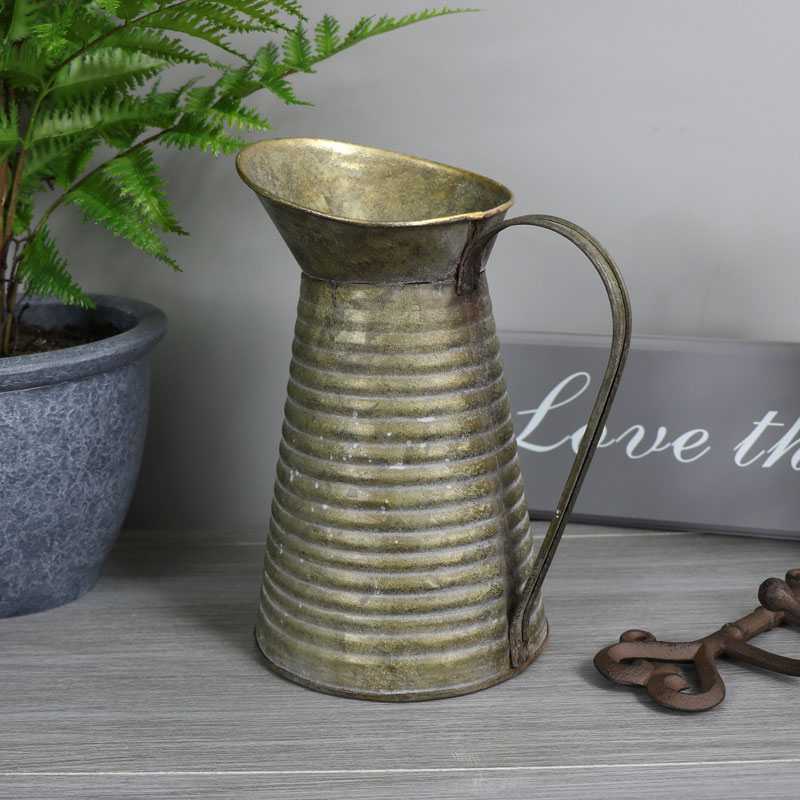 Grey Metal Vintage Style Decorative Jug Vase Flowers