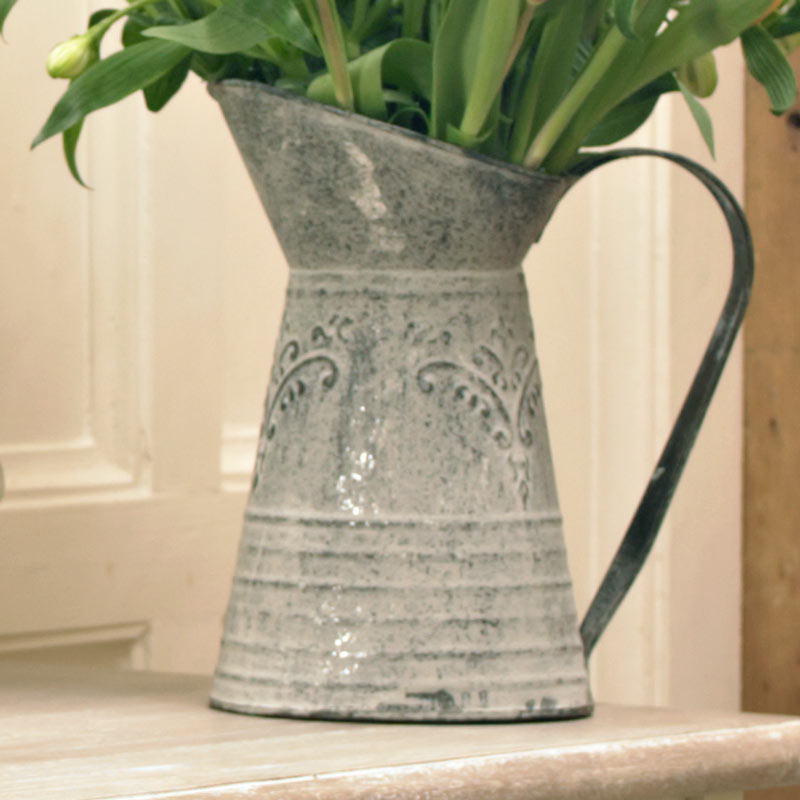 Grey Metal Vintage Style Decorative Jug Vase Flowers Shabby Vintage