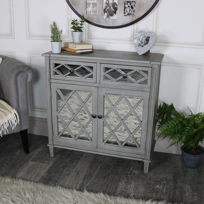 Grey Mirrored Cupboard Storage – Vienna Range