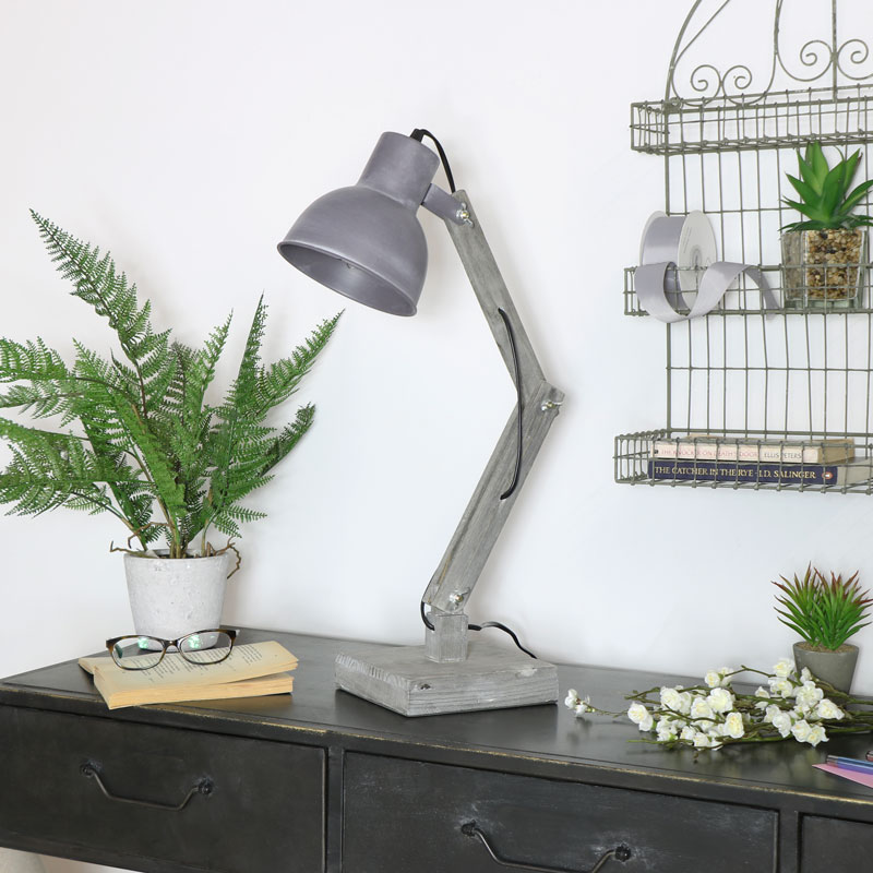 Grey Rustic Desk Lamp