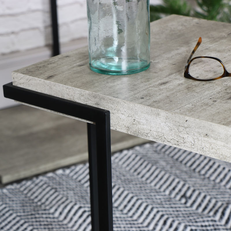 Grey Square Industrial Concrete Style Occasional Table