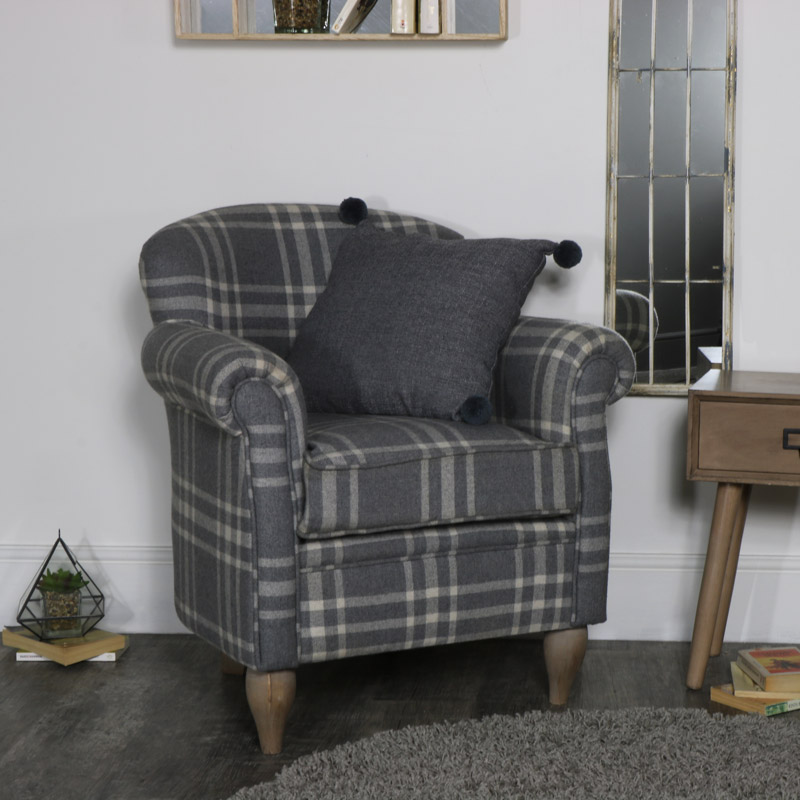 Grey Tartan Cheque Arm Chair