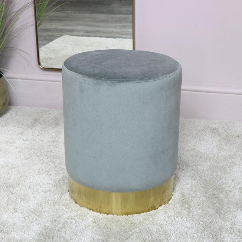 Grey Velvet Stool with Gold Base