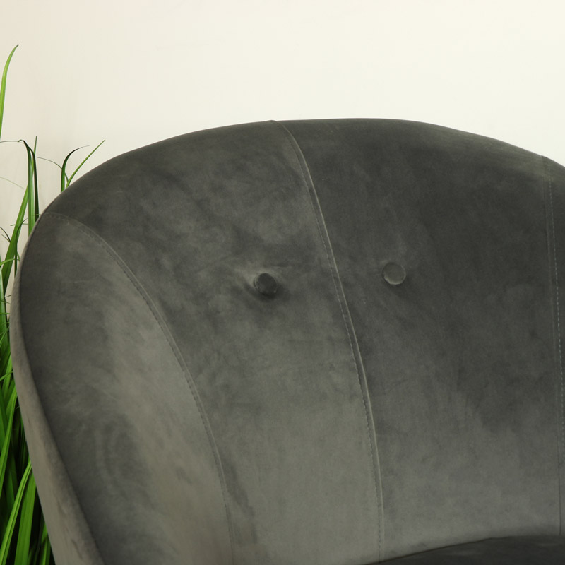 Grey Velvet Tub Chair