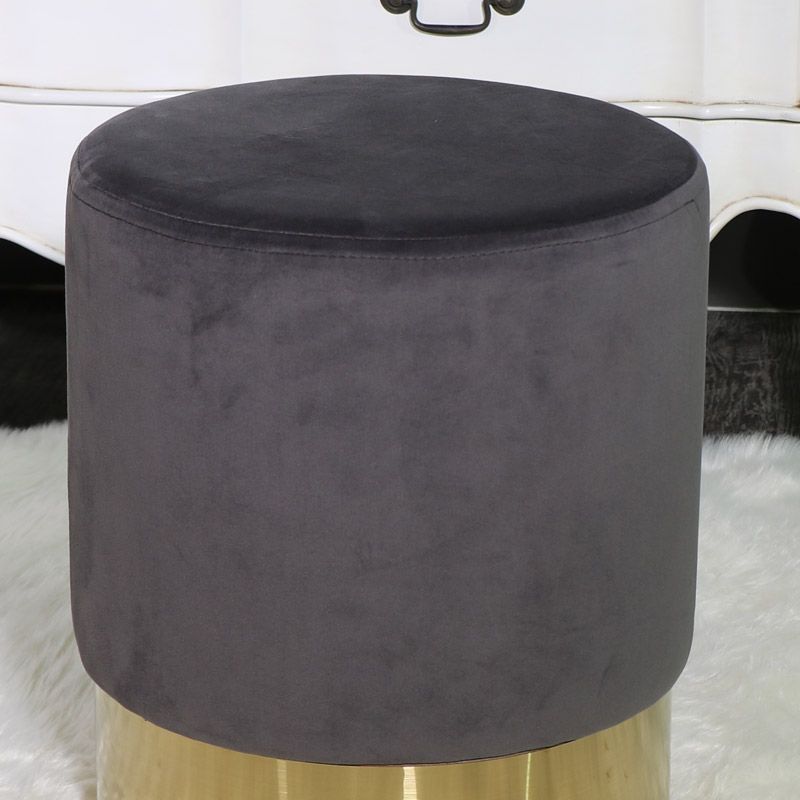 Grey Velvet Upholstered Boudoir Stool