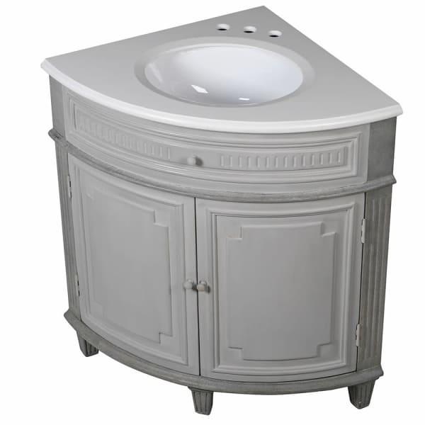 Grey Vintage Corner Vanity Sink Unit Melody Maison