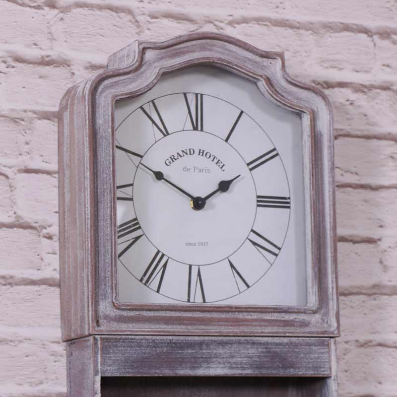 Grey wall mounted grandfather style clock shabby vintage chic roman numeral ebay - Wall mounted grandfather clock ...